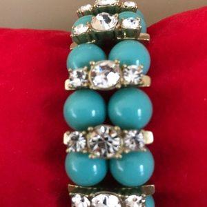 J Crew turquoise, rhinestone and gold bracelet